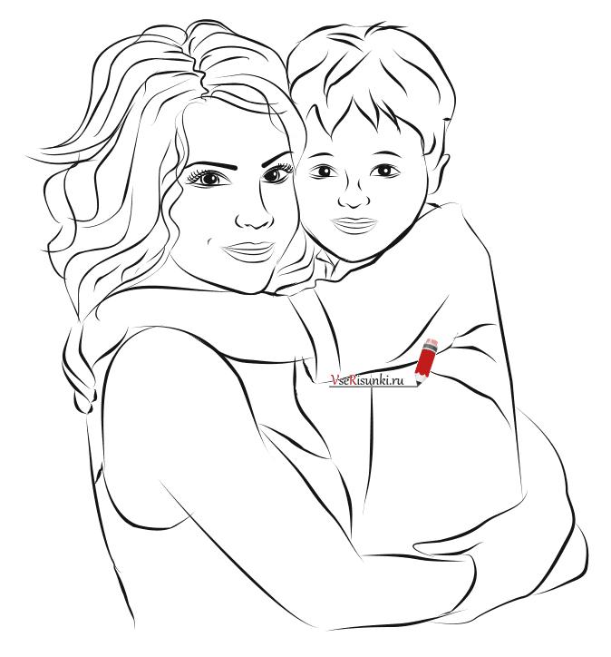 Как нарисовать маму и сына карандашом поэтапно